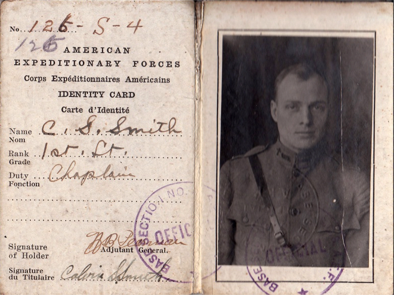 Chaplain Calvin S. Smith's American Expeditionary Forces Identity Card, which he carried during the war. Courtesy Calvin S. Smith family.