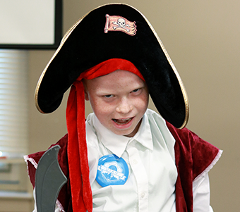 Student in pirate costume